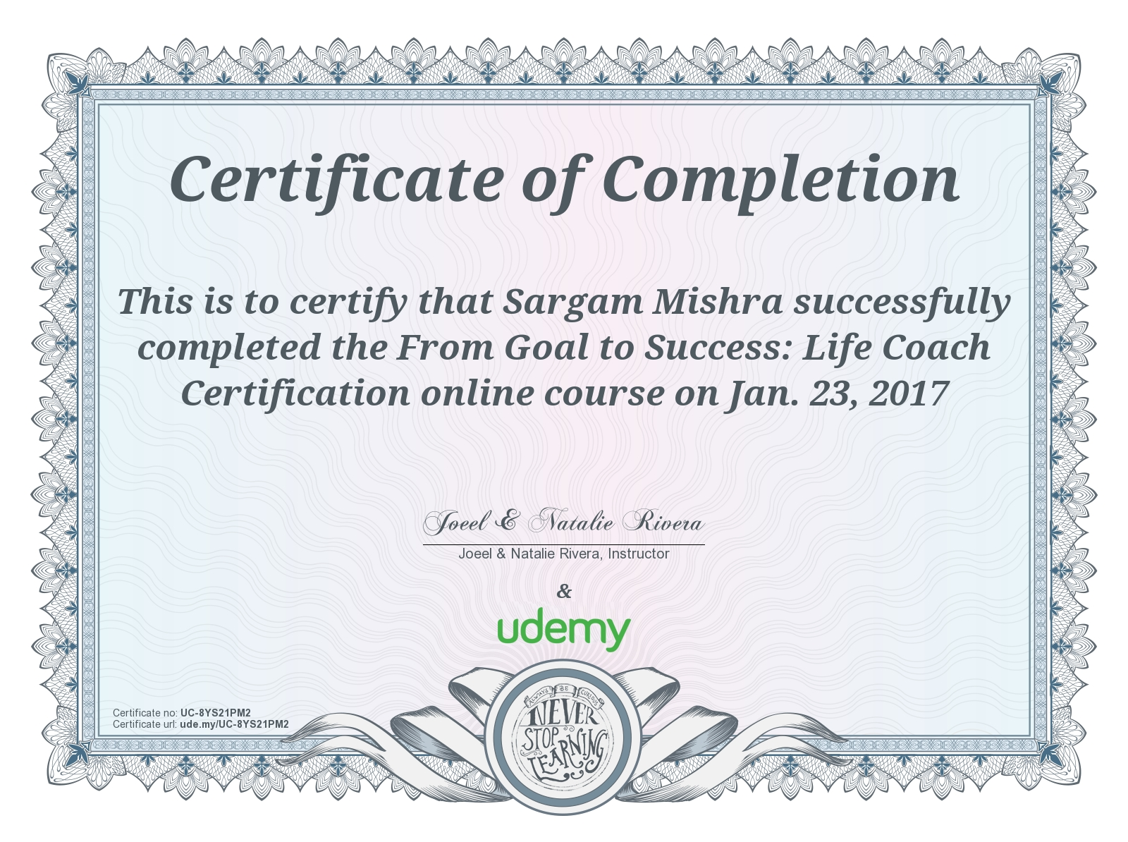 Goal to success life coach certificate sargam mishra published february 15 2017 at 1600 1194 in 1betcityfo Images