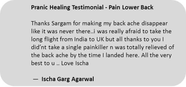 Pranic Healing Testimonial_Back Pain_Ischa_Sargam