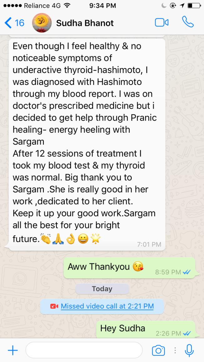 Sudha Bhopate Hashimoto Testimonial