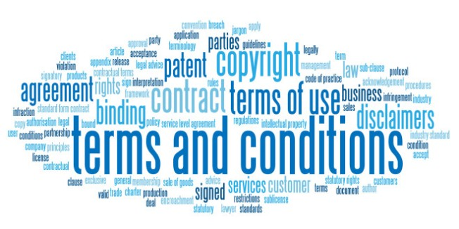 """TERMS AND CONDITIONS"" Tag Cloud (contract legal use button)"