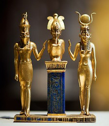 22nd dynasty; Isis and Horus protect Osiris, seated on a lapis lazuli pillar
